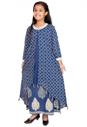 Block Printed Cotton Long Kurta in Blue