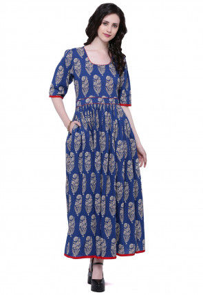 Block Printed Cotton Long Kurta in Royal Blue