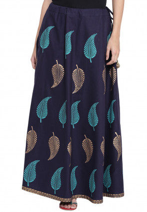 Block Printed Cotton Long Skirt in Navy Blue