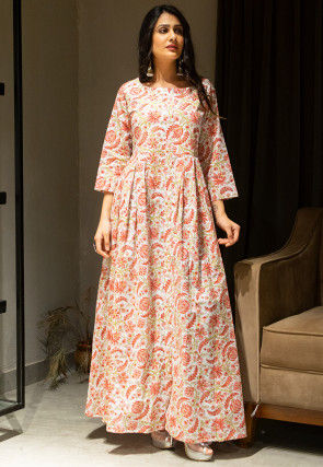 Block Printed Cotton Maxi Dress in White and Red