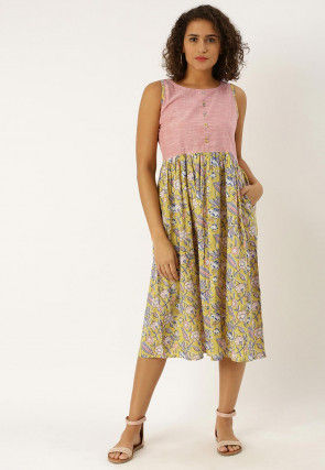 Block Printed Cotton Midi Dress in Light Olive Green and Peach