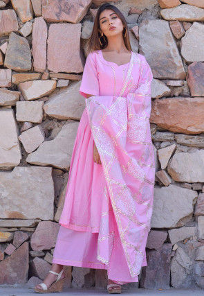 Block Printed Cotton Pakistani Suit in  Baby Pink