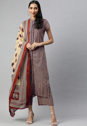Block Printed Cotton Pakistani Suit in Beige and Blue