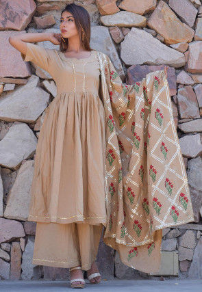 Block Printed Cotton Pakistani Suit in  Beige