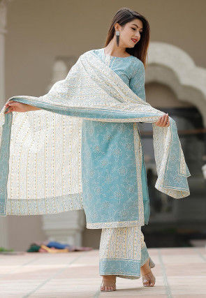 Block Printed Cotton Pakistani Suit in Blue