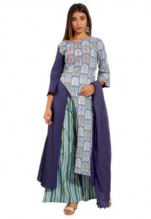 Block Printed Cotton Asymmetric A Line Suit in Blue