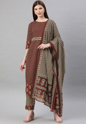 Block Printed Cotton Pakistani Suit in Brown