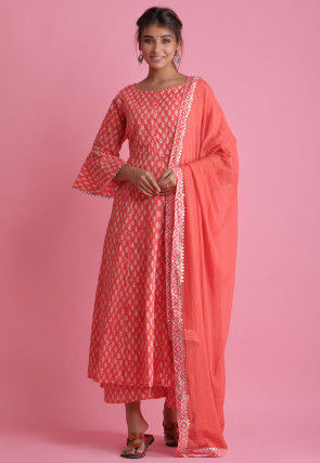 Block Printed Cotton Pakistani Suit in Coral Red