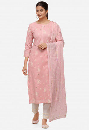 Block Printed Cotton Pakistani Suit in Light Pink