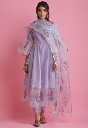 Block Printed Cotton Pakistani Suit in Light Purple