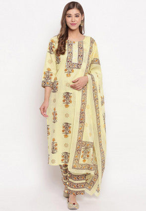 Block Printed Cotton Pakistani Suit in Light Yellow