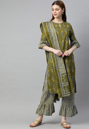 Block Printed Cotton Pakistani Suit in Olive Green