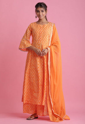 Block Printed Cotton Pakistani Suit in Orange