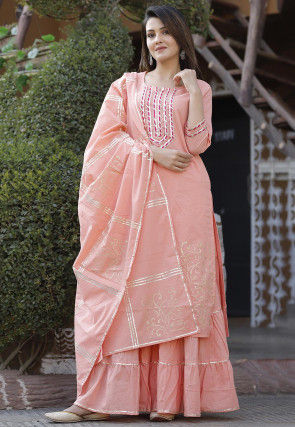 Block Printed Cotton Pakistani Suit in Peach