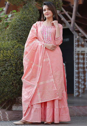 Block Printed Cotton Pakistani Suit in Peach