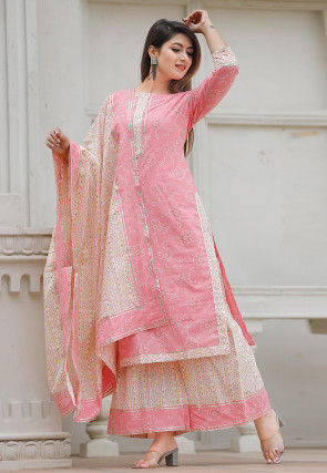 Block Printed Cotton Pakistani Suit in Pink