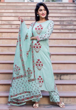 Block Printed Cotton Pakistani Suit in Sea Green