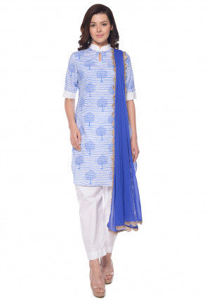 Block Printed Cotton Pakistani Suit in White and Blue