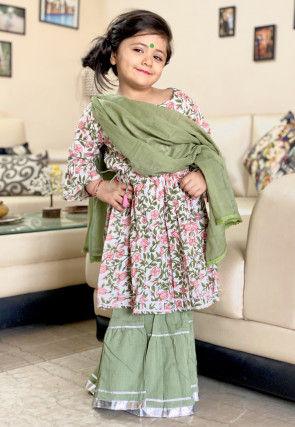 Block Printed Cotton Pakistani Suit in White