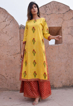 Block Printed Cotton Pakistani Suit in Yellow