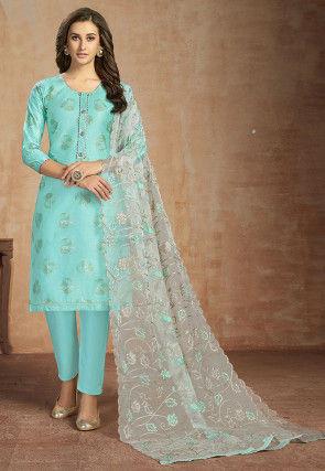 Block Printed Cotton Pakistani Suit Turquoise