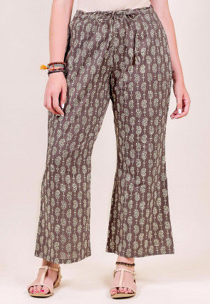 Block Printed Cotton Palazzo in Brown