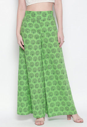 Block Printed Cotton Palazzo in Light Green