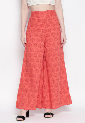 Block Printed Cotton Palazzo in Orange