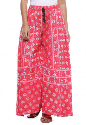 Block Printed Cotton Palazzo in Pink