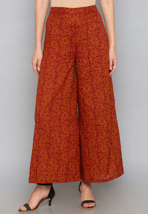 Block Printed Cotton Palazzo in Red and Orange