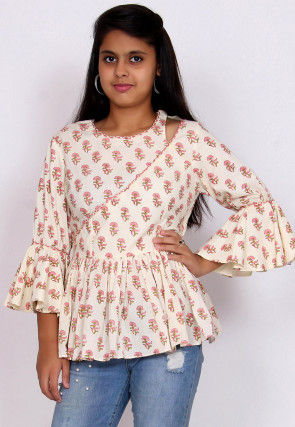 Block Printed Cotton Peplum Style Top in Off White