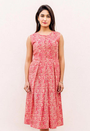 Block Printed Cotton Pleated Kurta in Coral Pink
