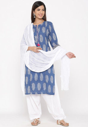 Block Printed Cotton Punjabi Suit in Blue