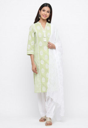 Block Printed Cotton Punjabi Suit in Light Green