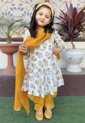 Block Printed Cotton Punjabi Suit in White
