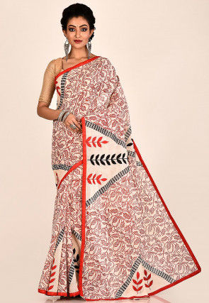 Block Printed Cotton Saree in Cream