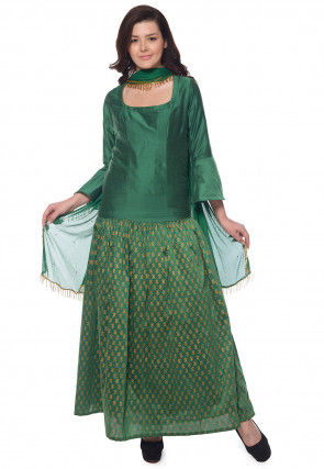 Block Printed Cotton Silk Abaya Style Suit in Green
