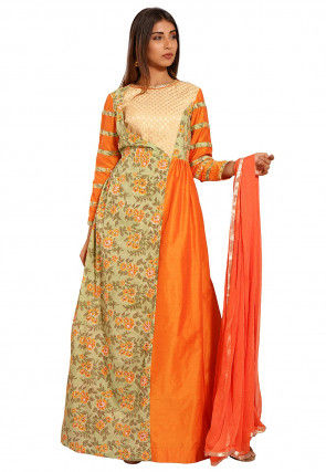 Block Printed Cotton Silk Abaya Style Suit in Orange and Green