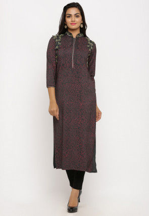 Block Printed Cotton Silk Straight Kurta in Dark Grey