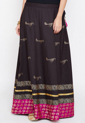 Block Printed Cotton Skirt in Black