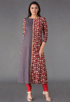Block Printed Cotton Slub A Line Kurta in Grey and Rust