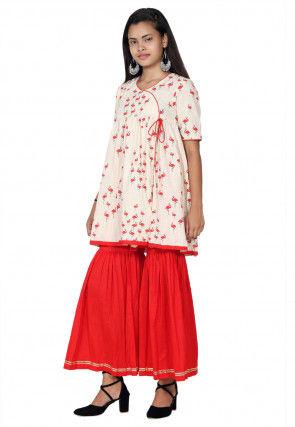 Block Printed Cotton Slub Angrakha Style Kurta Set in Off White
