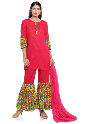Block Printed Cotton Slub Pakistani Suit in Fuchsia