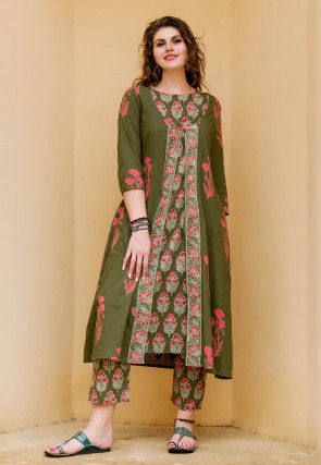 Block Printed Cotton Straight Kurta Set in Olive Green