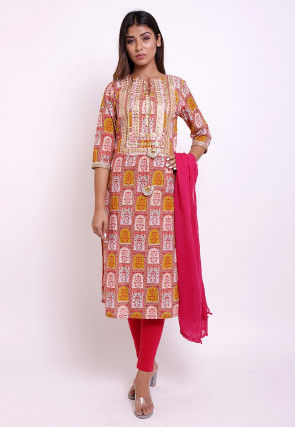 Block Printed Cotton Straight Suit in Multicolor