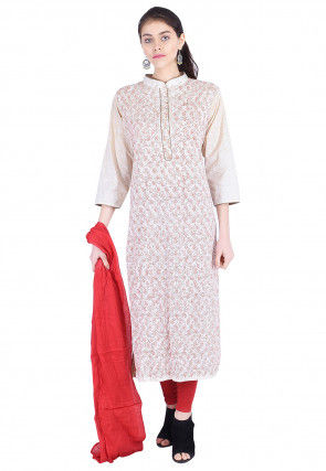 Block Printed Cotton Straight Suit in Off White