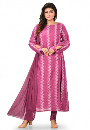 Block Printed Cotton Straight Suit in Pink