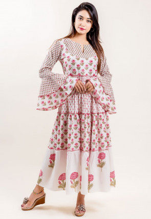 Block Printed Cotton Tiered Dress in Off White and Pink