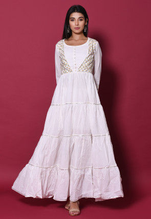Block Printed Cotton Tiered Dress in White