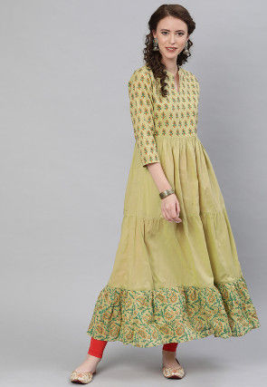 Block Printed Cotton Tiered Kurta in Dusty Green